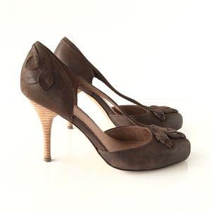 Miss Albright Brown Leather Floral Appliqué Heels